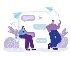 mulher e homem com smartphone conversando desenho vetorial vetor