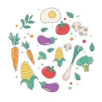 comida saudável nutrição dieta orgânica fresco colheita tomate cenoura berinjela cogumelo e brócolis vetor