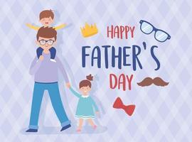pai, filho e filha no desenho vetorial do dia dos pais vetor