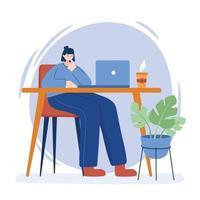 mulher com laptop na mesa desenho vetorial