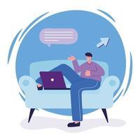 homem com laptop na cadeira conversando desenho vetorial vetor