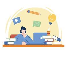 mulher com laptop e livros na mesa de desenho vetorial