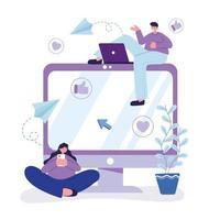 jovem com laptop e mulher com smartphone conversando