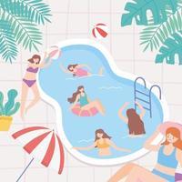 jovens de férias na piscina brincando e nadando vetor