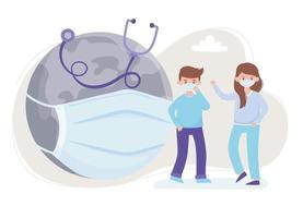 menino, menina e mundo com máscara médica e estetoscópio, salve a proteção do planeta contra o coronavírus covid 19 vetor