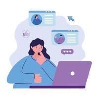 jovem mulher com laptop, pessoas conversando com bolha