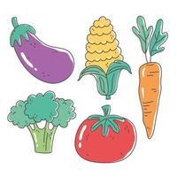 alimentos saudáveis nutrição dieta orgânica berinjela tomate cenoura milho e brócolis vegetais ícones vetor