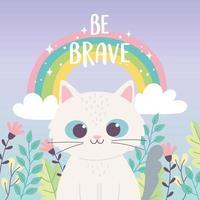 gatinho fofo animal arco-íris flores ramo desenho animado frase inspiradora vetor
