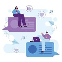 mulher e homem com smartphone e laptop conversando desenho vetorial vetor