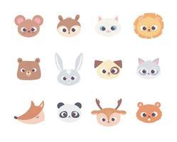 animais bonitos dos desenhos animados enfrentam ícones da coleção de animais domésticos selvagens vetor