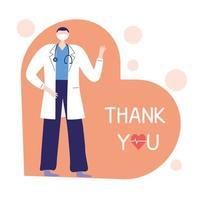 obrigado doutores e enfermeiras, médico com máscara e estetoscópio profissional vetor