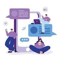 mulher e homens com smartphone e laptop conversando design vetorial vetor