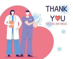 obrigado médicos e enfermeiras, médica e enfermeira com máscara protetora vetor