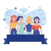mulheres avatares amigas com desenho vetorial de fita vetor