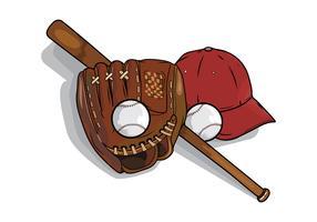 Elementos de softball vetor