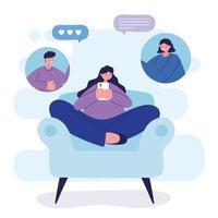 mulher com smartphone na cadeira conversando desenho vetorial vetor