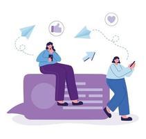 mulheres com smartphone conversando com design vetorial vetor