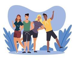 mulheres e homens avatares design de vetor amigos