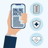 mão segurando um smartphone com design de vetor de texto médico online