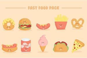 pacote de ilustração de fast food vetor