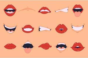 pacote de ilustração de boca de desenho animado vetor