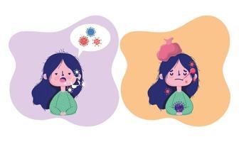 covid 19 coronavírus pandêmico, menina com sintomas febre tosse vetor