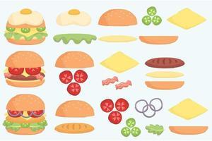 conjunto de ilustração de ingrediente de hambúrguer vetor