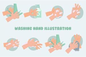 pacote de ilustração para lavar as mãos vetor