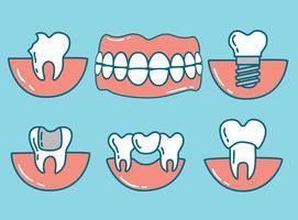 Desenho de dentes desenhados com cuidado dos dentes vetor