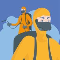 homens com traje de proteção, pulverizando desenho vetorial vetor