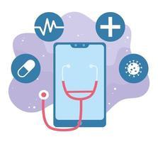 saúde online, smartphone estetoscópio vírus cápsula medicamento covid 19 coronavírus vetor