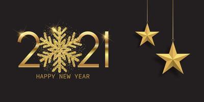 banner de feliz ano novo com floco de neve brilhante vetor