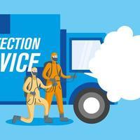 homens com roupa de proteção pulverizando e desenho vetorial de caminhão vetor