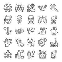 Conjunto de ícones de linha fina covid-19 ou coronavírus pandêmico