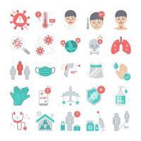 covid-19 ou conjunto de ícones planos de pandemia de coronavírus