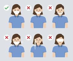 ilustração da maneira errada e correta de usar uma máscara facial para prevenir a propagação do coronavírus