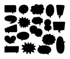 coleção de balões de fala em silhueta vetor