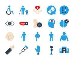 conjunto de ícones planos de deficiência