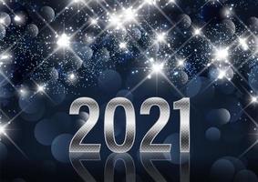 feliz ano novo fundo com números metálicos vetor