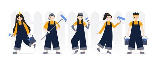 conjunto de personagens profissionais de pintores e artistas