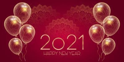 desenho decorativo de banner de feliz ano novo vetor