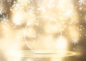 globo de neve dourado no fundo do natal vetor