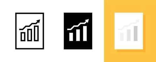 informações ou dados comerciais com conjunto de ícones de símbolo de barra de gráfico vetor