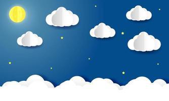 céu com nuvens e lua à noite corte de papel estilo de fundo vetor