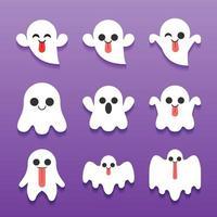 coleção fofa personagem de desenho animado fantasma de halloween vetor