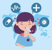 saúde online, menina com tosse com papel vetor