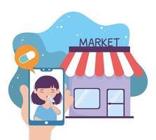 saúde on-line, paciente em farmácia, aplicativo móvel de compras de medicamentos vetor