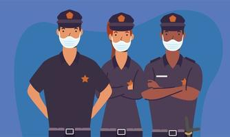 policiais homens e mulheres com máscaras de desenho vetorial