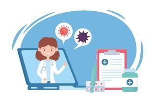 saúde online, médica em laptop relatar prescrição de remédio vetor