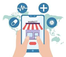 saúde online, mãos com medicina do mercado de smartphones covid 19 coronavirus vetor